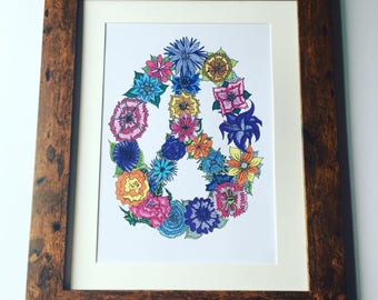 Floral peace sign illustration in high quality print, original design, limited prints available!