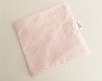 Reusable Snack & Sandwich Bag -- Pink and White Geometric, Eco-Friendly
