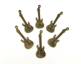6 guitar charms bronze tone ,15mm 40mm # CH 135