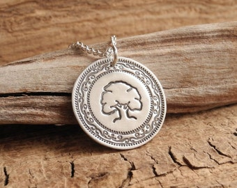 Oak Tree Necklace, Mighty Oak, Strength, Endurance, Fine Silver, Sterling Silver Chain, Made To Order
