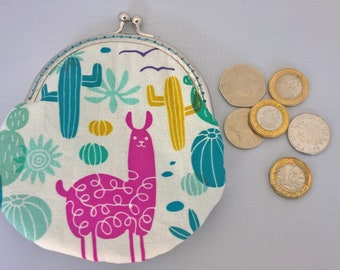 Llama in the Desert Coin Purse, Cactus Small Money Purse, Fabric Purse, Framed Coin Purse, Money Pouch, Headphone Pouch, Birthday Gift