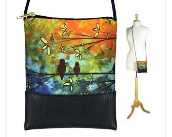 MadArt  Sling bag, mini crossbody bag fits iPhone 6 Plus, small shoulder bag purse,  Birds of a Feather, Tree, orange blue green RTS