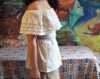 Mexican Blouse, Embroidered, Off Shoulder, Ivory, Lace, Beige, Lace, Top, Frida, OSFM