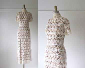 A Case of You / 70s wedding dress / vintage 1970 crochet dress
