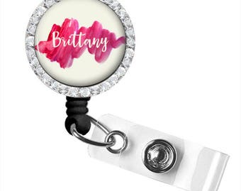 Watercolor ID Badge Reel Holder | Retractable ID Badge Holder | Personalized | Style 740