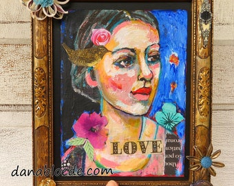 Love painting with shabby vintage frame