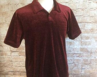 Vintage Short Sleeve Top Burgundy Velour Velvet By Burton Menswear c 1970-80s Medium 38-40 in Chest