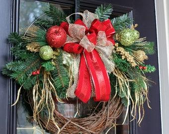 Christmas wreaths for front door, Elegant Holiday wreaths, Christmas wreaths, Christmas decorations, Christmas door decor, Winter wreaths