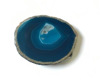 Blue Diamond Mine Agate Belt Buckle