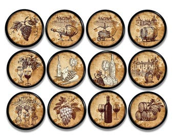 Rustic Old World Vineyard Cabinet Knob | Wine Decor Drawer Pulls   Winery  Journal   Tuscan