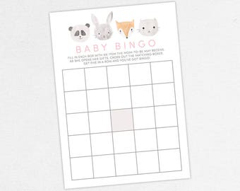 INSTANT DOWNLOAD Baby Bingo Card, Baby Shower Bingo, Baby Bingo PDF, Diy, Baby Shower Games, Woodlands, Forest, Fox, Panda, Bunny, Cat, Gray