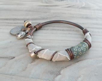 Silk Road Copper Bangle - Boho Silk Wrapped Bangle, Handmade with Tribal Metalwork and Recycled Silks, Sage and Silver