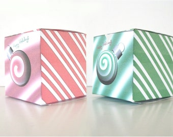 DIY Christmas Gift Box Printable Cube Favor Boxes Cristmas Ball Green Spearmint and Red Peppermint