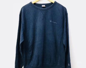 Free Shipping!! Vintage Champion Sweatshirt Small Logo Embloidery Streetwear Swag Pullover Blue Colour Large Size