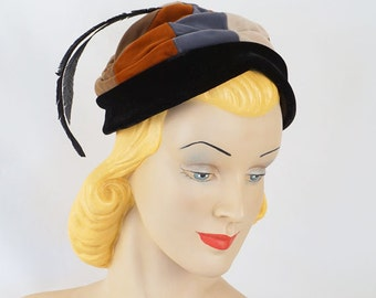 Vintage 1960s Hat Multi Colored Velvet Feathered Pixie by Marilyn