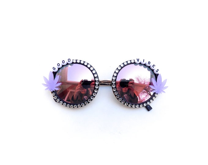 Good Vibes ~ sparkly ganja festival sunglasses by Baba Cool
