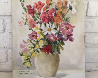 Original Oil Painting of Flowers in a Vase on Canvas