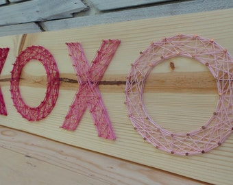 Kisses and Hugs XOXO - Modern String Art Tablet - Made to Order