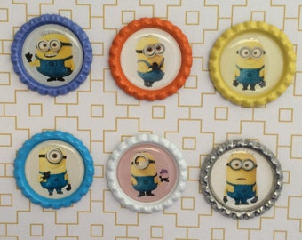 Minions Inspired Bottle Caps Necklace/Keychain/Zipper Pulls