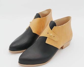 The Mussenden.  Black and Undyed. 3cm. Handmade Boots. Comfort Shoes. Soft Shoes.