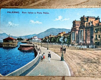 5 Rare Palermo, Sicily, 1918, 1921, Postcards - Antique Postcards, Two Colored, One Linen Finish, Sepia, Black and White, Blue Tint, Sicily