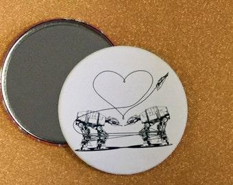 3.5 Inch AT-AT Love Purse Mirror - White, Star Wars Mirror, Star Wars Gift, Star Wars Party, Pocket Mirror, Compact Mirror, Hand Mirror