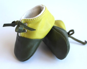 3-6 Months Slippers / Baby Shoes Lamb Leather Green bicolors