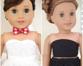 18 inch doll white or black bustier tops.