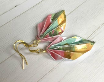 Origami Leaf Earrings // Colorful Gold