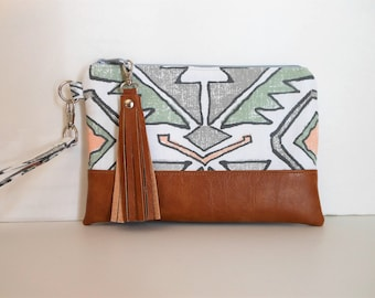 "Wristlet iPhone 7 Plus Wristlet Aztec Tribal Print Clutch, with Quality Dark Tan Faux Leather Base 9""x6"" - Ready to Ship."