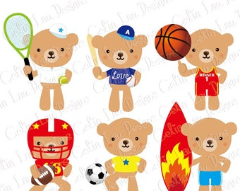 Bear Clipart,  Sport Clipart, Cute Little Bear clip art, for Personal and Commercial Use / INSTANT DOWNLOAD