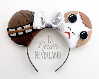 Chewbacca and Porg Ears, Porg Star Wars Ears, Chewbacca Star Wars Ears, Star Wars Mickey Ears, Star Wars Mouse Ears, Mickey Ears, PRE-ORDER