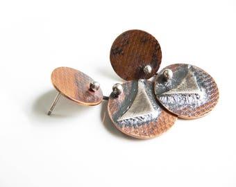 Contemporary earrings, copper dangle earrings, circle post earrings, copper disc earrings, Metalsmith, Mixed Metal Earrings, Organic jewelry