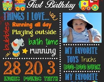 First Birthday Chalkboard Sign - Circus Birthday Chalkboard Poster - Custom Birthday Sign - Birthday Chalkboard