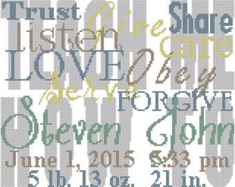 Teach Me How Baby Cross Stitch Pattern, Teach Me How Cross Stitch Pattern, Teach Me to Love Obey trust share listen cross stitch pattern