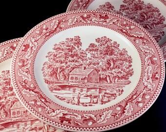 Ironstone Dinner Plates, Royal China, Memory Lane, Set of 3, Pink