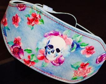 Skull and flower weightlifting belt SALE