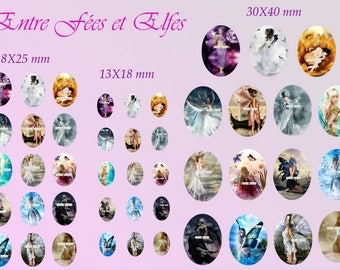 Fairies and elves: 45 oval images in 3 sizes