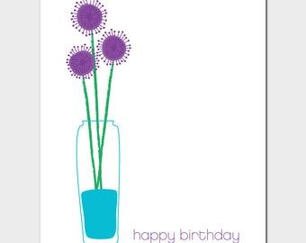 Vases Birthday Card with Allium