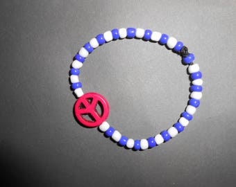 Peace bracelet with red, white and blue beads, for smaller wrists - kids or adults