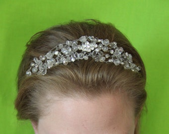 "Crystal like headband with crystal and bezel center, flexible band ""Ines"""