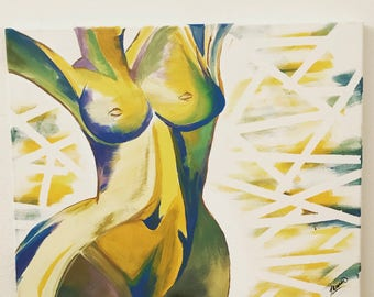 """Beautiful Abstract Exotic Naked Female Body 16x20"""""""