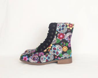 Skull shoes, women boots, sugar skulls, custom shoes, alternative, geek, gift for her, bohemian, women shoes, day of the dead, tattoo shoes