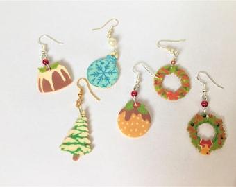 Christmas earrings, Wooden Christmas earrings, Festive earrings item 729 by CraftyLittleMonkeyGB