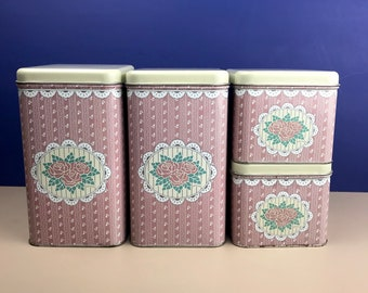 Vintage Tin Canister Set of 4 - Pink Retro Kitchen Storage Jars - Cottage Chic Containers - Dusty Rose / Mauve - Country Farmhouse Decor