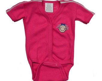 Medical And G-Tube Accessible Short One-Piece Bodysuit/Adaptive Medical Clothes Preemie, Infant, Toddlers - Raspberry Color
