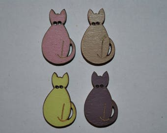 set of 4 buttons wood cat child/baby/sewing/scrapbooking/deco 56