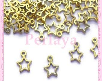Set of 50 charms REF064 golden stars