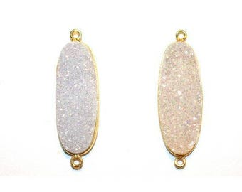 Druzy Coated Pearl Shimmer Oval 8X10 MM 12X15 MM 13X30 MM Gold Double Gold Single - Druzy Pendant - Druzy Connector - Bezel Gemstone Pendant