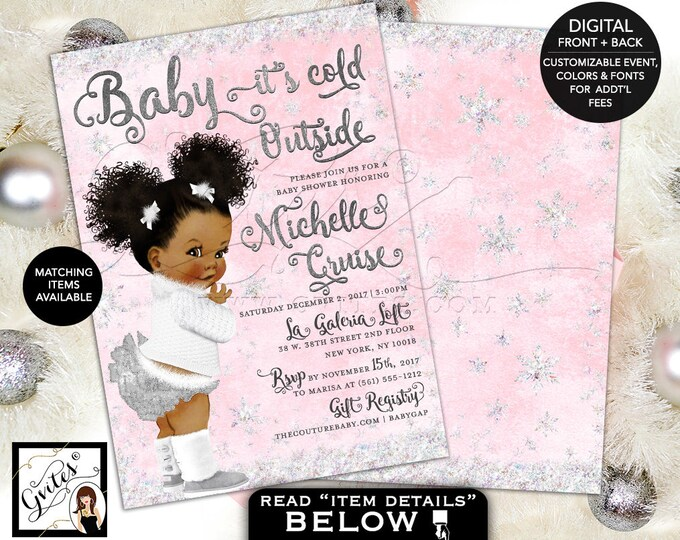 Pink and Silver Baby Shower Baby it's Cold Outside Invitations, Winter Wonderland, African American afro puffs, 5x7 double sided. Gvites